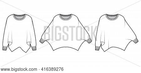 Set Of Sweaters Batwing Sleeve Technical Fashion Illustration With Rib Oval Neck, Oversized, Hip Len