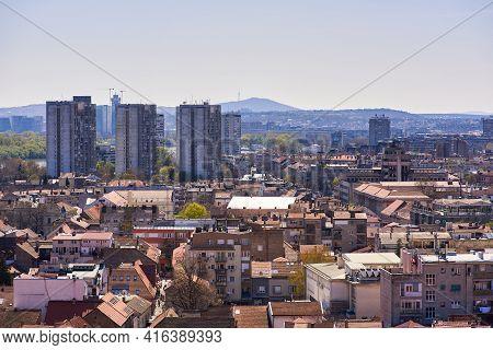 Cityscape Of Zemun And Novi Beograd Municipalities Of Belgrade, Capital Of Serbia, On April 10, 2021