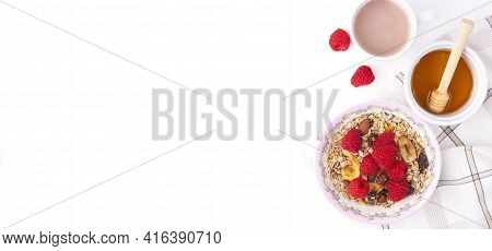 Morning Granola, Fruits, Honey, Fresh Coffee. Berries In Bowl On Grey Concrete Background. Healthy B