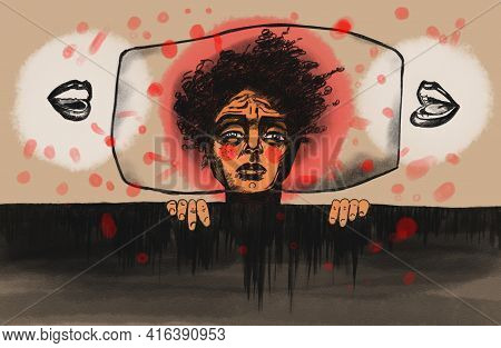 Illustration Of Tiredness, Sadness, Despair. A Man Suffering From Pain And Illness, Depression, Desp