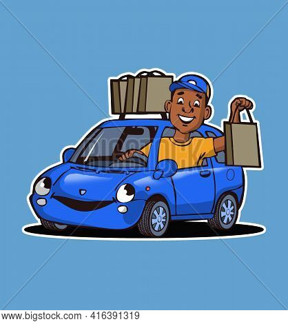 Cartoon Character Delivery Guy Driving Car And Bring Order To The Customer With Fun