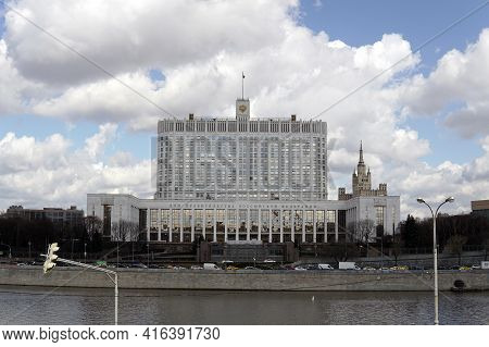 Moscow Russia - April 09 2021:the House Of The Government Of The Russian Federation On Krasnopresens