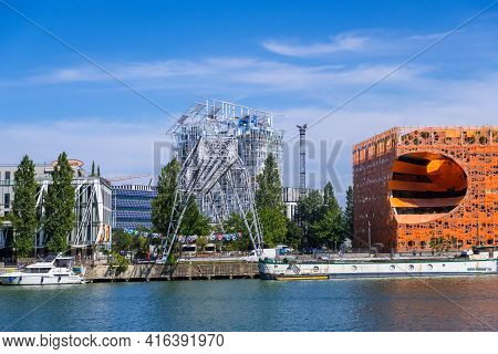 Lyon, France - August 22, 2019: The Orange Cube Building At Confluence Harbor In Lyon, City View Fro