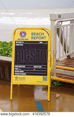 Yeppoon, Queensland, Australia - April 2021: Surf Lifesaving Beach Report Information Blackboard Was