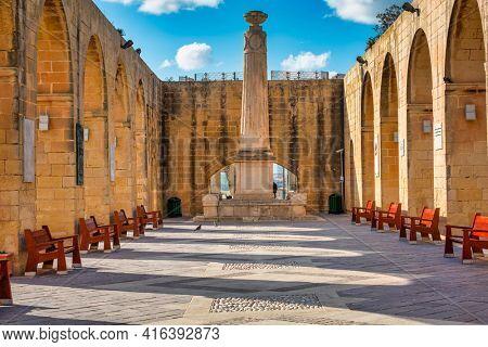 Valletta, Malta - January 11, 2019: Beautiful architecture of the Valletta city, capital of Malta