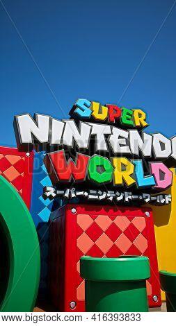 Osaka, Japan - Apr 11, 2021 : Scenery At The Entrance Of Nintendo World.super Nintendo World Is A Th
