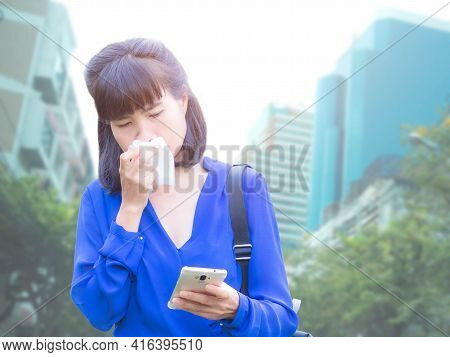 Staff Woman Mucus Wipes Standing With Mobile On White Background.