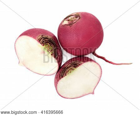 Cut And Whole Fresh Ripe Turnips On White Background, Top View
