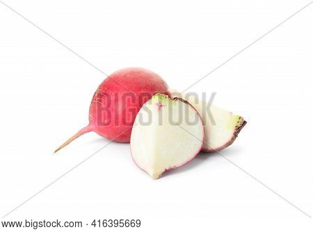 Cut And Whole Fresh Ripe Turnips On White Background