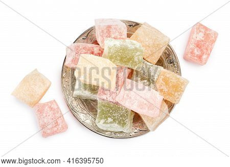 Turkish Delight Dessert In Plate On White Background, Top View