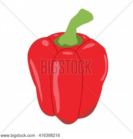 Fresh Red Pepper Vegetable Icon On White Background. Fresh Red Paprika Sign. Pepper For Farm Market