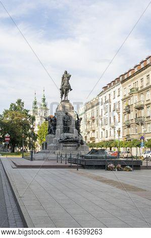 Krakow Poland August 2020. Grumwald Monument, Krakow, Old Town, Lesser Poland, Poland Europe