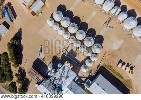 Grain Elevator Terminal Spout Loading Grain Corn Silos, Storage Containers Drying Grain Complex