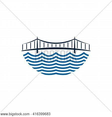 Bridge Logo Design Vector Illustration, Creative Bridge Logo Design Concept Template, Symbols Icons