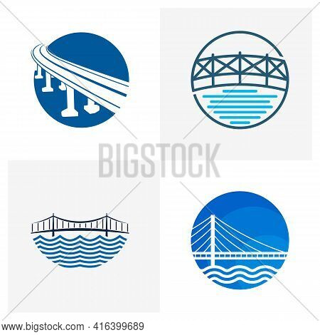 Set Of Bridge Logo Design Vector Illustration, Creative Bridge Logo Design Concept Template, Symbols