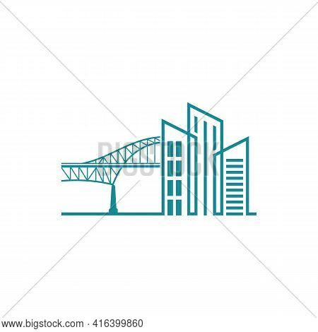 Bridge With Building Logo Design Vector Illustration, Creative Bridge Logo Design Concept Template,