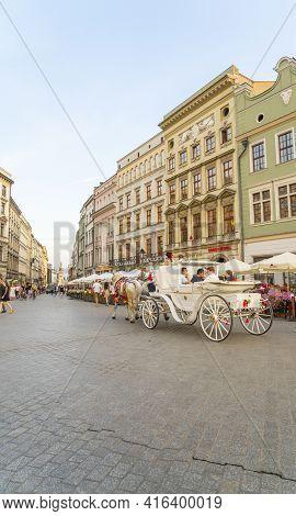 Krakow Poland August 2020. Horse Carriage Taxi In Krakow, Old Town, Lesser Poland, Poland