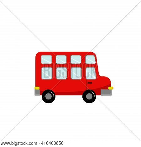 Double-decker Bus Toy Illustration. Vector Illustration On White Isolated Background. Drawing For Us