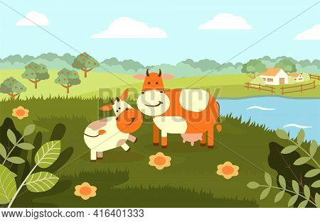 A Cow With A Calf On The Background Of A Rural Landscape. Vector Flat Illustration