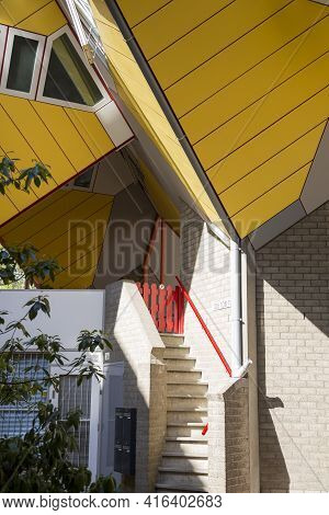 Rotterdam, Netherlands - July 03, 2018: Apartment Entrance At Cube House - The Original Landmark Of