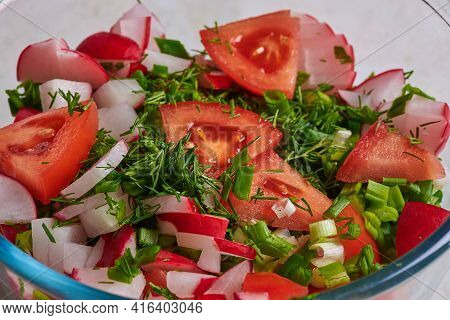 Delicious Appetizing Vegetarian Salad In A Plate