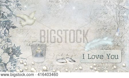 The Composition Is Decorated With Images Of A Dove, A Burning Candle, Wedding Rings And Ribbons With
