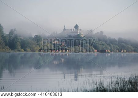 View Of The Church Of The Nativity Of John The Baptist In Staraya Ladoga On A Foggy June Morning. Le