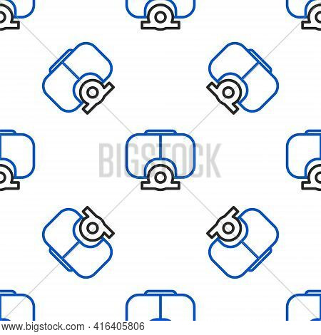 Line Diving Mask Icon Isolated Seamless Pattern On White Background. Extreme Sport. Diving Underwate