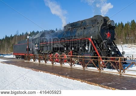 Ruskeala, Russia - March 10, 2021: Soviet Mainline Freight Steam Locomotive Lv-0522 On The