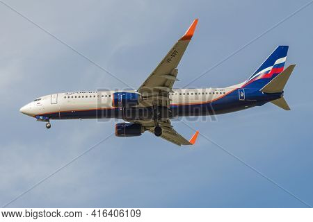Saint Petersburg, Russia - May 08, 2018: Flying Boeing 737-800