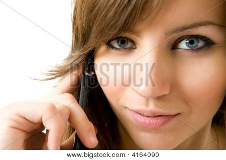 Closeup Portrait Of Beautiful Girl With Telephone