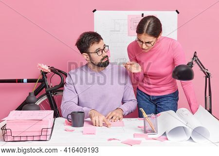 Two Woman And Man Students Cooperate For Making Plan For Project Work On Report Together Consult Wit