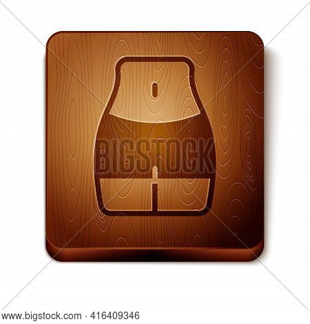 Brown Women Waist Icon Isolated On White Background. Wooden Square Button. Vector