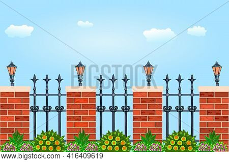 Metal Fence With Decorative Cast Iron Wrought, Pillars Of Bricks, Plant And Flashlights. Fence With