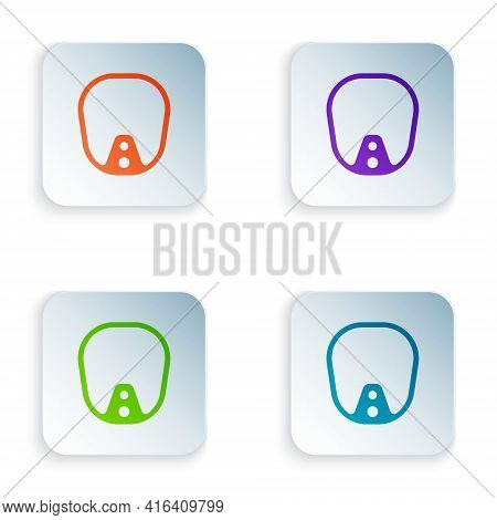 Color Diving Mask Icon Isolated On White Background. Extreme Sport. Diving Underwater Equipment. Set