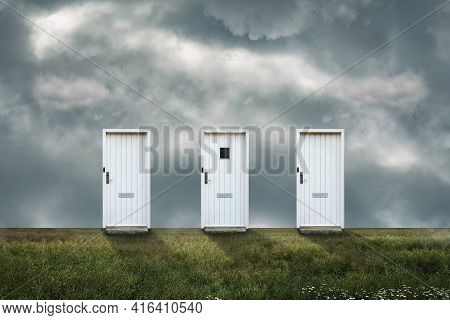 Three Front Doors, In A Cloudy Sky. Concept Of Choosing A Life Path. Business. Lifestyle.
