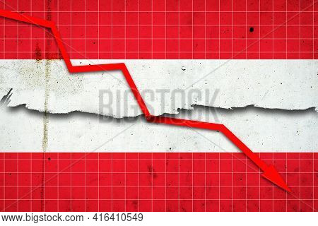 Fall Of The Austria Economy. Recession Graph With A Red Arrow On The Austria Flag. Economic Decline.