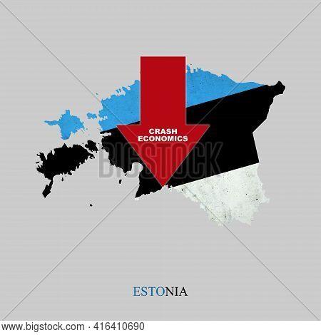 Crash Economics, Estonia. Red Down Arrow On The Map Of Estonia. Economic Decline. Downward Trends In