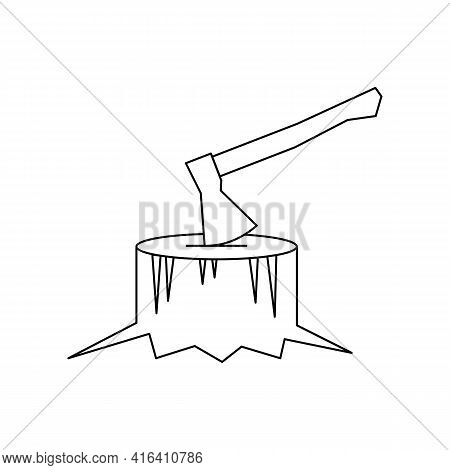Linear Black White Ax In Tree Stump Icon. Can Be Used As A Sticker, Symbol Or Sign. Simple Stock Vec