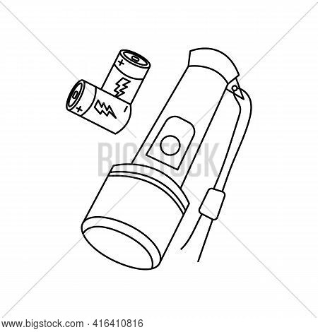 Linear Black White Flashlight Icon. Can Be Used As A Sticker, Symbol Or Sign. Simple Stock Vector Il