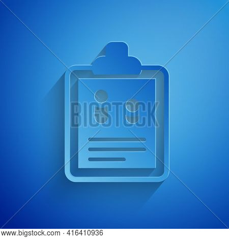 Paper Cut Business Finance Report Icon Isolated On Blue Background. Audit And Analysis, Document, Pl