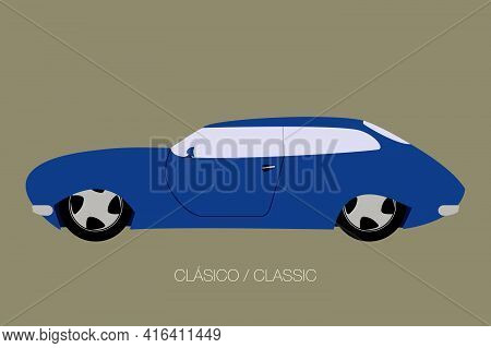 Classical Blue Car, Vector Car Icon, Side View Of Car, Automobile, Motor Vehicle, Fully Editable