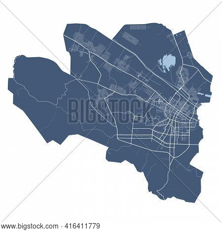 Ashgabat Map. Detailed Vector Map Of Ashgabat City Administrative Area. Cityscape Poster Metropolita