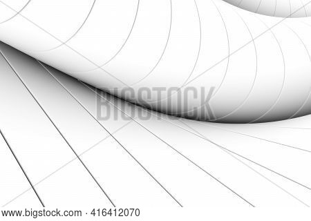 Black And White Twist Wave Abstract Background 3d Render Illustration
