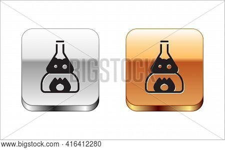 Black Glass Test Tube Flask On Fire Heater Experiment Icon Isolated On White Background. Laboratory