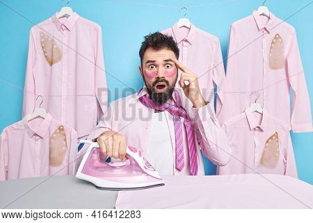 Scared Stunned Male Employee Wakes Up In Morning And Irons Clothes For Work Shocked As Being Late Ap