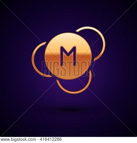 Gold Molecule Icon Isolated On Black Background. Structure Of Molecules In Chemistry, Science Teache