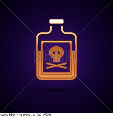 Gold Poison In Bottle Icon Isolated On Black Background. Bottle Of Poison Or Poisonous Chemical Toxi