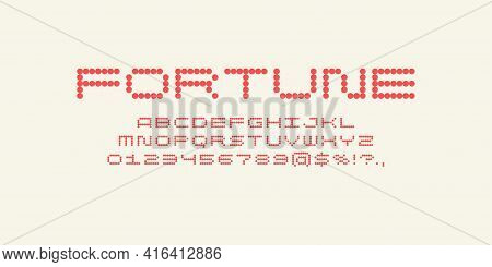Alphabet Font. Capital Letters Of The Latin Alphabet. A Dot Font Consisting Of Round Particles.