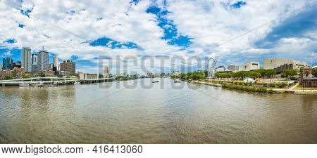 Brisbane skyline with skyscrapers on the both banks of the Brisbane river. Queensland, Australia. Panoramic photo
